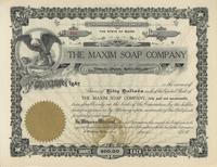The Maxim Soap Company unissued stock certificate