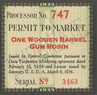 Permit to Market One Wooden Barrel Gum Rosin