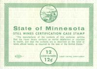 State of Minnesota Still Wines Certification Case Stamp