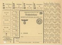 World War II German food ration card for butter, margarine, curd cheese, and cheese