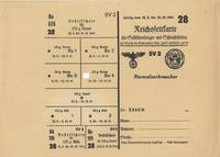 World War II German food ration card for butter and cheese