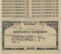 Tax Stamp for manufacturer of oleomargarine issued in Chicago, Ill.