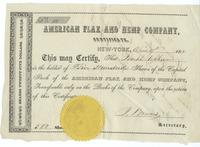 American Flax and Hemp Company stock certificate