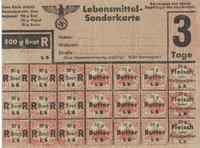 World War II German ration card for bread, butter, and meat