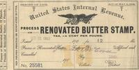 Tax stamp for process or renovated butter