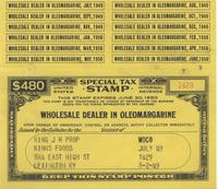 Tax Stamp for wholesale dealer in oleomargarine issued in Lexington, Ky.