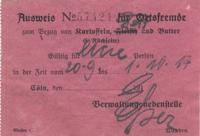 Traveler's ration card (from germany)