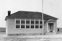 Front exterior view of newly constructed Reeves Crossing Colored School