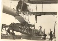 Curtiss Hawk plane on catapult on the U.S.S. California during Pacific Coast Naval maneuvers, ready to take off