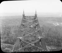 Quebec Bridge during construction seen from above