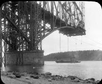 Quebec Bridge during construction seen from ground level