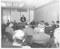James J. Wadsworth, permanent United States representative to the United Nations, addressing press group during presentation of the Coatesville Declaration at the World Affairs Center