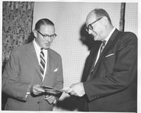 Charles L. Huston, Jr., President, Lukens Steel Company and the Hon. James J. Wadsworth, permanent U.S. representative to the United Nations, during presentation of Coatesville Declaration at World Affairs Center