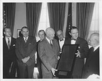 Group with Dwight D. Eisenhower at White House ceremony for Coatesville Declaration