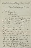 Correspondence, Henry Pleasants to Franklin B. Gowen, 1875-03-29