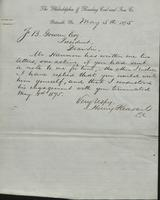 Correspondence, Henry Pleasants to Franklin B. Gowen, 1875-05-05