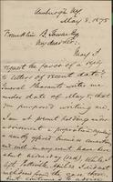 Correspondence, Howard B. Hanmore to Franklin B. Gowen, 1875-05-08