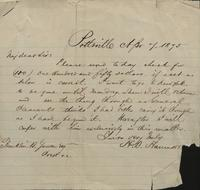 Correspondence, H.B. Hanmore to Franklin B. Gowen, 1875-04-07