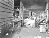 Building freight cars in shops at Altoona, Pa.