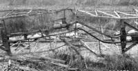 Frame of wrecked freight car, underside view, clearing house film