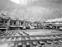 Wreck near Mapleton, Pa., view of steam engine #686 on freight car, back of engine