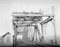 Catenary construction between New Brunswick and Hackensack River near New Brunswick, N.J.