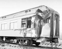 Wreck near Longfellow, Pa., Pullman car, angular view