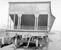 Car #190953, bulged side causing wreck, end view, at Lewistown, Pa.