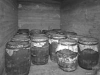 Barrels of grease loaded in box car at South Altoona, Pa.