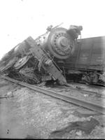 Steam engine #2416, wreck at 29th St., front view