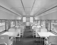 D78DR dining car, with new style paneling, interior view
