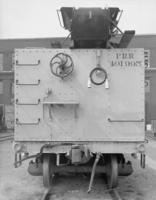 Flat car with cinder loading device, end view