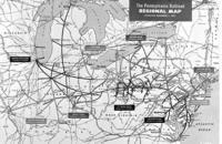Regional map of Pennsylvania Railroad effective November 1, 1955