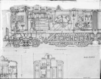 DD1 electric engine, side view of tracing