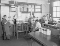 Men at work in chemistry/physics laboratory