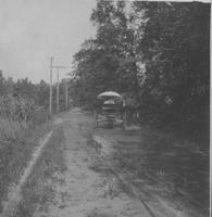 Early road with horse-drawn carriage