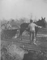 Road construction - horse-drawn grader