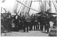 Samuel Francis du Pont and officers on deck of USS Wabash