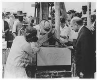 Mr. and Mrs. Pierre S. du Pont laying cornerstone at Chester County Hospital in West Chester, Pa.