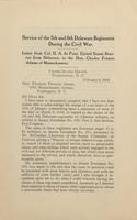 Service of the 5th and 6th Delaware Regiments During the Civil War:  Letter from Col. H. A. du Pont, United States Senator from Delaware, to the Hon. Charles Francis Adams of Massachusetts.