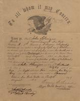 Military Discharge for John Flanigan, 1863-08-12