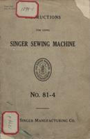 Instructions for Using Singer Sewing Machine, No. 81-4
