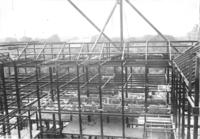 Steel beams during construction of Chamber of Commerce building