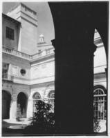 Courtyard, through a pillar, at Chamber of Commerce building