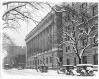 Exterior of Chamber of Commerce building in the snow