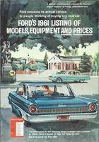 Ford's 1961 Listing of Models, Equipment, and Prices