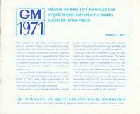 GM 1971: General Motors 1971 Passenger Car Specifications and Manufacturer's Suggested Retail Prices