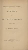 The transcontinental railway : remarks at Rutland