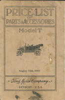 Price List of Parts and Accessories: Model T