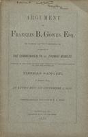 Argument of Franklin B. Gowen, Esq...in the case of The Commonwealth vs. Thomas Munley